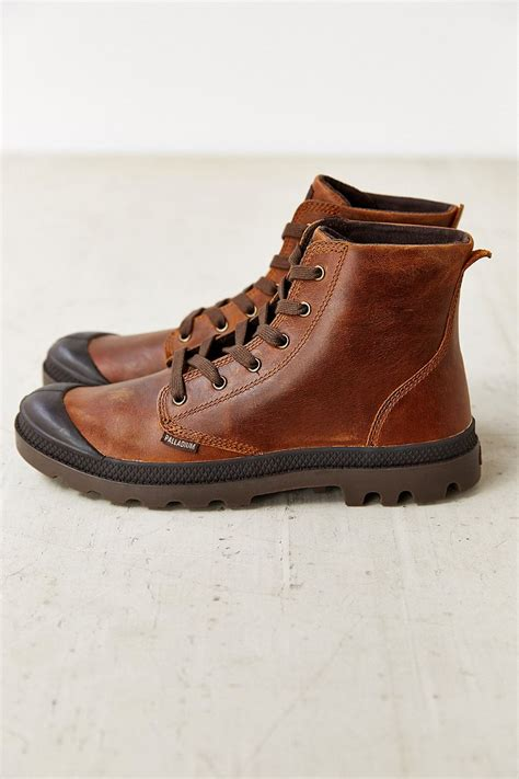 mens high top leather boots palladium pa high top leather boot in brown for lyst