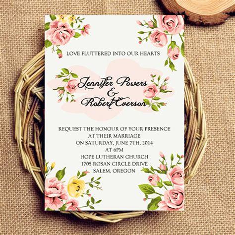 tren undangan motif bunga pusat kartu undangan