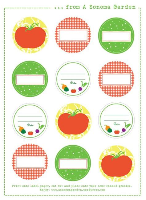 printable jar labels more canning labels canning pinterest