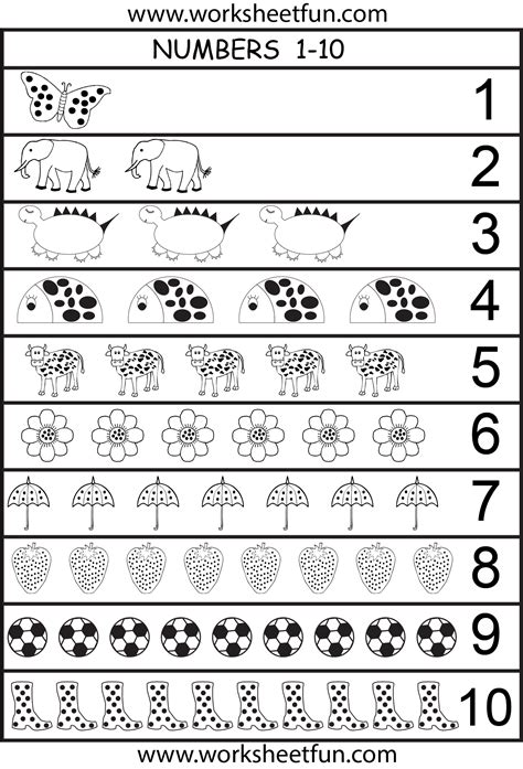 free printable numbers 1 10 worksheets 6 best images of printable number chart 1 10