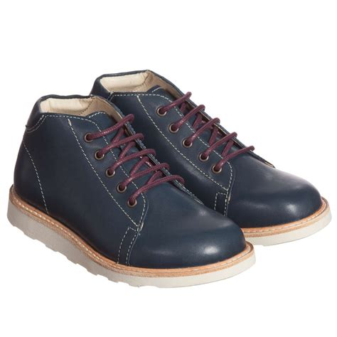 soles boys navy blue hugo leather ankle boots