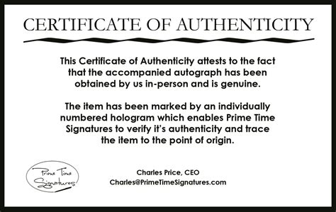 certificate of authenticity autograph template primetime signatures authenticity verification