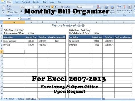 Monthly Bill Organizer Bill Tracker Calculates Total Due Bill Payment Organizer Template Excel