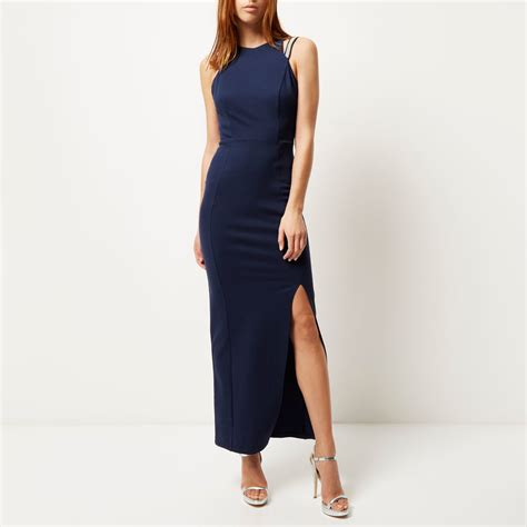 A Pretty Embellished Navy Dress From Warehouse by River Island Navy Jersey Embellished Maxi Dress In