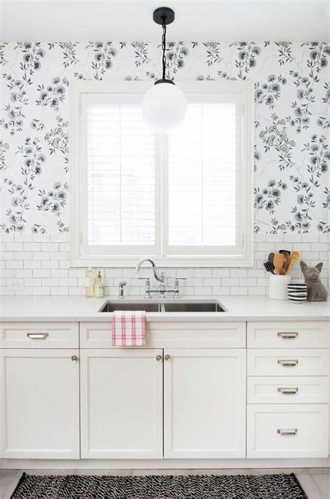wallpaper on kitchen cabinets 25 best ideas about kitchen wallpaper on pinterest