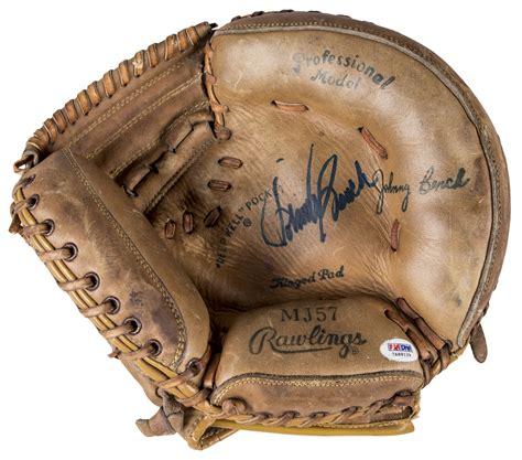 johnny bench catchers mitt lot detail johnny bench autographed rawlings mj57 model catcher s glove psa dna