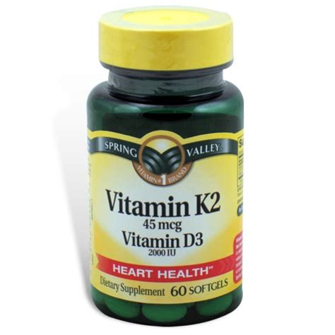 supplement k2 vitamin k2 45 mcg k d3 60 softgels valley
