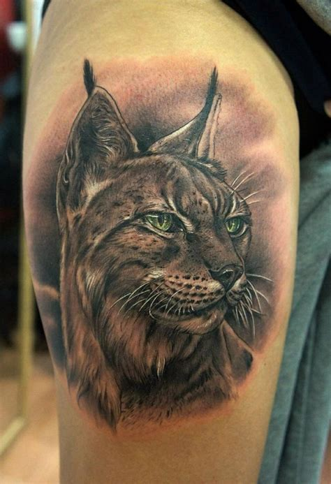 detailed tattoos beautiful detailed realistic portrait of lynx