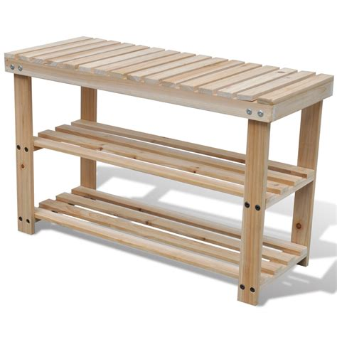 bench with shoe rack vidaxl co uk 2 in 1 wooden shoe rack with bench top durable