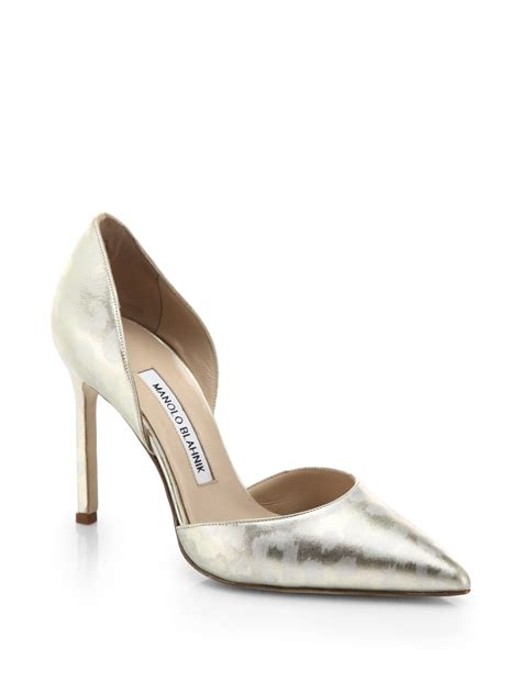 Manolo Blahnik Patent Dorsay by Manolo Blahnik Metallic Printed Patent Leather D Orsay