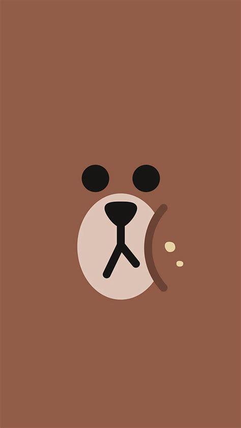 charactor cute brown bear face ilustration art