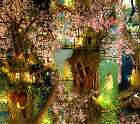 Psychedelic Wall Murals beautiful tree house fantasy fairy tale images pictures hd