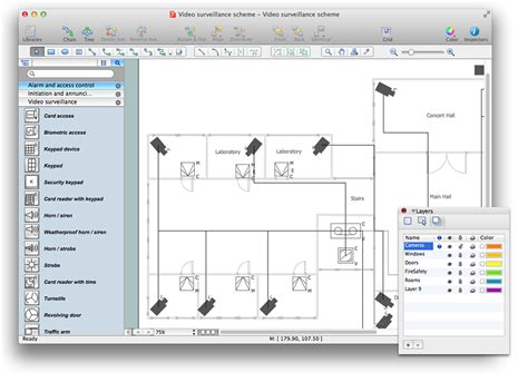 security floor plan creating a security and access floor plan conceptdraw
