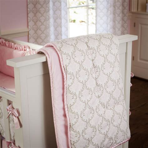 baby pink comforter pink and taupe damask crib comforter carousel designs