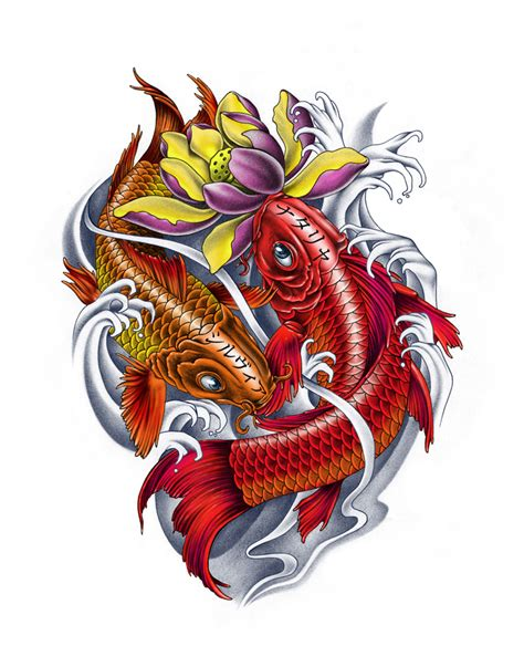 design tattoo ikan koi family koi fishes color version by ca5per on deviantart