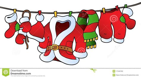 Christmas Costume On Clothesline Stock Vector - Image ... Free Clip Art Christmas Theme