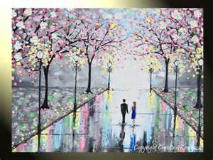 Wall Stickers Cherry Blossom giclee print art abstract painting couple large canvas prints