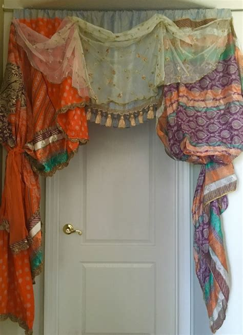 boho window curtains bohemian window treatment valance one of a by