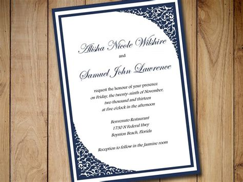 Printable Wedding Invitation Template Download Dark Navy Blue Invitation Formal Invitation Navy Blue Wedding Invitation Templates