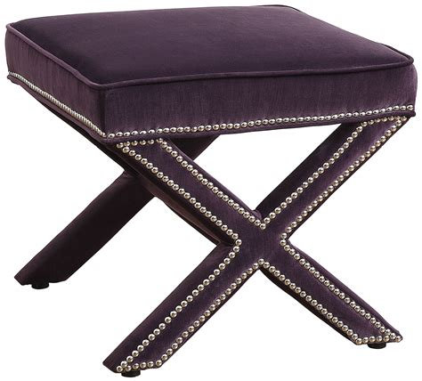 Reese Purple Velvet Ottoman Tov O17 Purple Tov Furniture Purple Ottoman