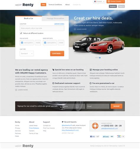 motor website renty car rental booking wordpress theme bestwebsoft