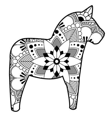 dala horse coloring page coloring page for kids