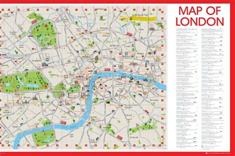 Medieval Home Decor by London Central Map With Attractions Athena Posters