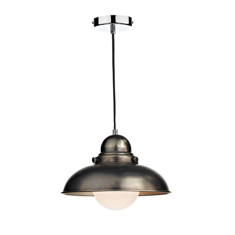 Reclaimed Pendant Lighting Dyn0161 Dar Dynamo 1 Light Ceiling Light Antique Chrome Pendant