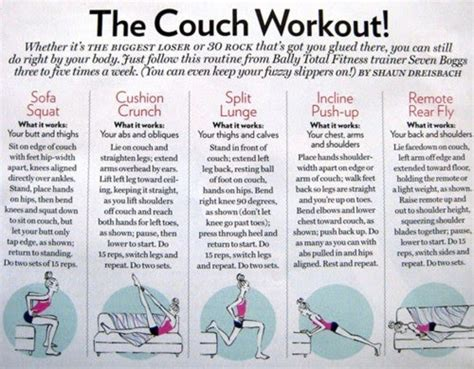 sofa workout health and fitness the couch workout