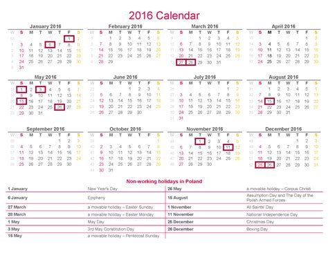 2016 holidays calendar from holiday insights 2016 calendar non working holidays in poland rsm