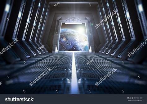 interior space futuristic interior space station view earth stock