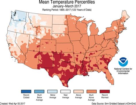 us average temperature map march assessing the u s climate in march 2017 national