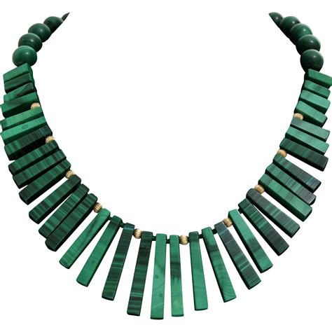 Bead Choker malachite bead choker necklace 14k yellow gold vintage