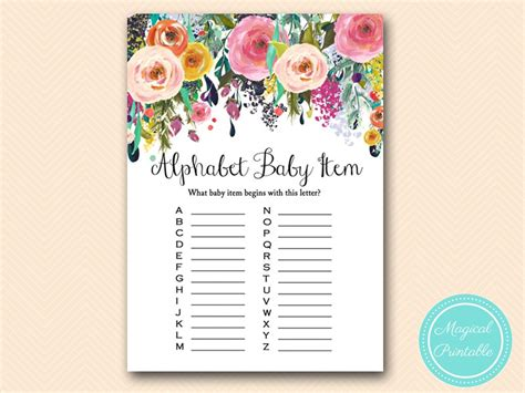 shabby chic baby shower game printable magical printable
