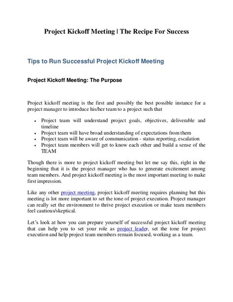 project kickoff meeting template project kickoff meeting the recipe for success