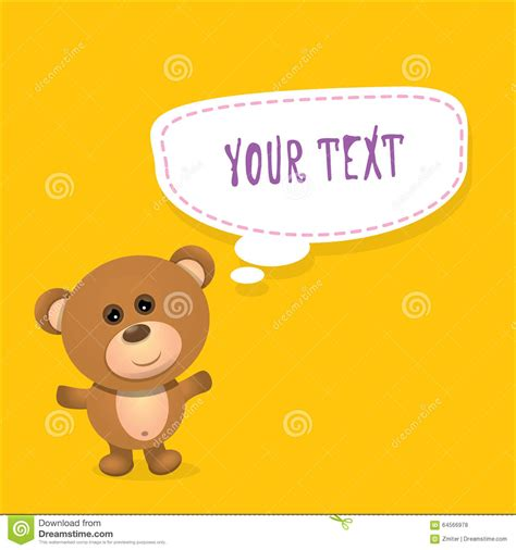 Greeting Card Text Templates by Vector Teddy With Speech For Text Stock
