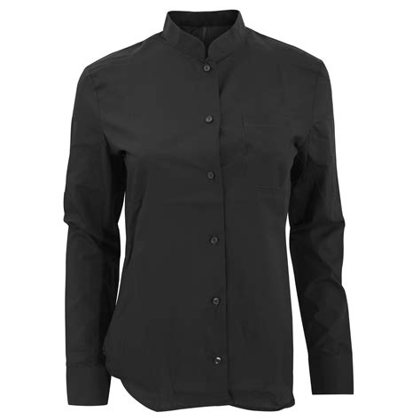Collar Longsleeve kariban womens sleeve mandarin collar shirt ebay