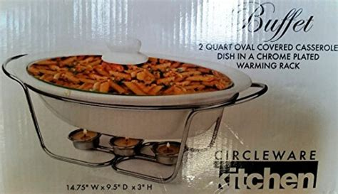 circleware kitchen buffet buffet 2 quart oval covered casserole dish in a chrome plated warming rack home garden kitchen