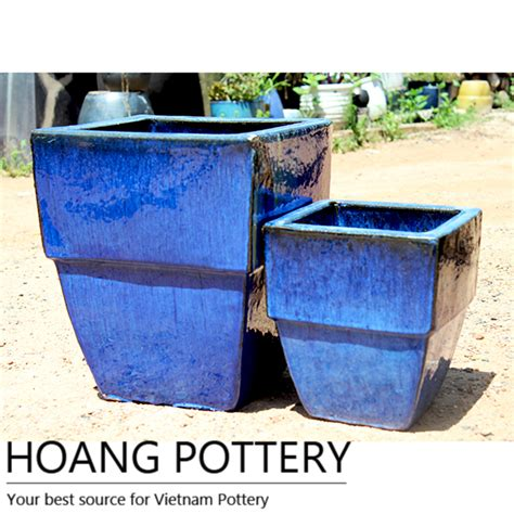 Planters Net by Square Royal Blue Ceramic Pots Hpan064 Hoang Pottery