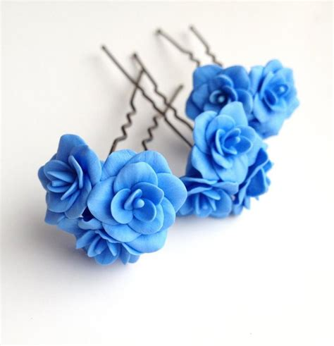 wedding hair flowers pins blue flower pin blue flower hair pin bobby pins flower