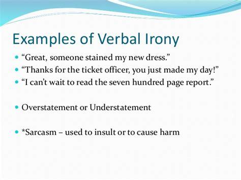 exle of verbal irony types of irony