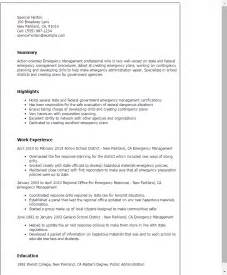 Emergency Response Officer Sle Resume by Professional Emergency Management Templates To Showcase Your Talent Myperfectresume