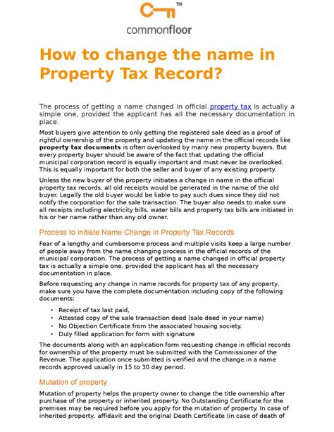 How To Find Property Ownership Records How To Change The Name In Property Tax Record By Arica Mishra Issuu