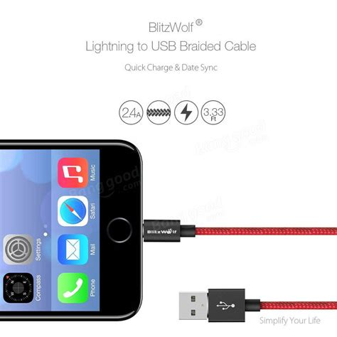 Iphone 7 Cable 1m Usb Data Lightning Cable Ios 10 Warna Merah blitzwolf 174 bw mf2 lightning to usb braided data cable 3