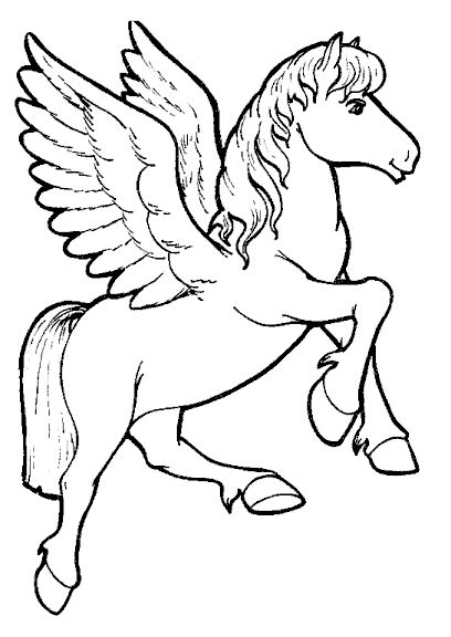 Coloring Page Unicorn With Wings by Unicorn Coloring