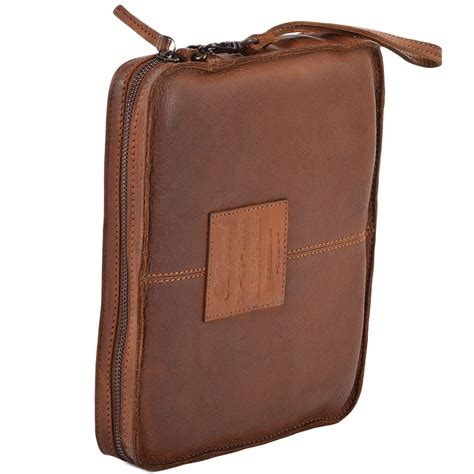 mens vintage leather tablet sleeve clutch bag rust 7991