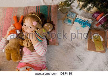 futon düsseldorf blond with stuffed animal stock photo royalty
