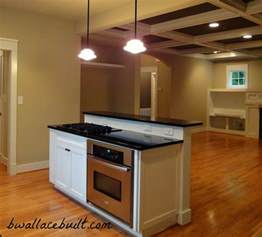 kitchen island with separate stove top from oven