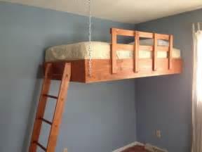 suspended bed hanging loft bed plans plans free
