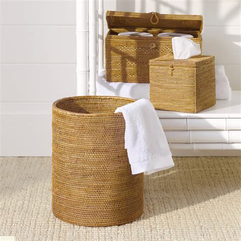 Woven Rattan Bath Accessories Gump S Rattan Bathroom Accessories